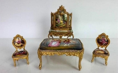 4 PIECE AUSTRIAN ENAMEL MUSICAL MINIATURE FURNITURE