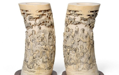 A Pair of Japanese Ivory Tusk Vases, Meiji period, each...