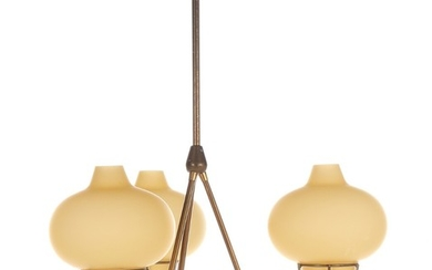 Bent Karlby: A brass chandelier with three branches, yellow glass shades. Model K770. Manufactured by Lyfa. H. 70. Diam. 45 cm.