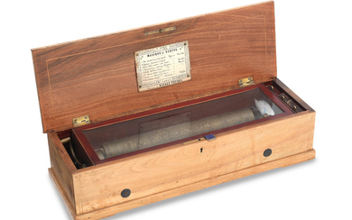 A 19th century walnut and marquetry inlaid cylinder music box