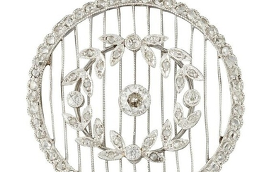 A BELLE EPOQUE DIAMOND BROOCH, an old-cut diamond in a
