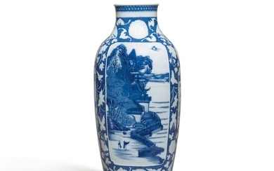A BLUE AND WHITE SOFT PASTE VASE, QING DYNASTY, QIANLONG PERIOD | 清乾隆 漿胎青花開光亭臺樓閣圖瓶