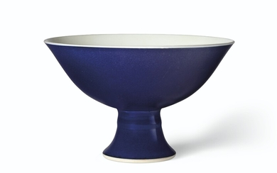 A BLUE-GLAZED STEM BOWL, CHINA, QING DYNASTY, YONGZHENG SIX-CHARACTER MARK IN UNDERGLAZE BLUE IN A LINE AND OF THE PERIOD (1723-1735)