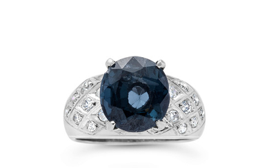 A Blue Spinel, Diamond and White Gold Ring