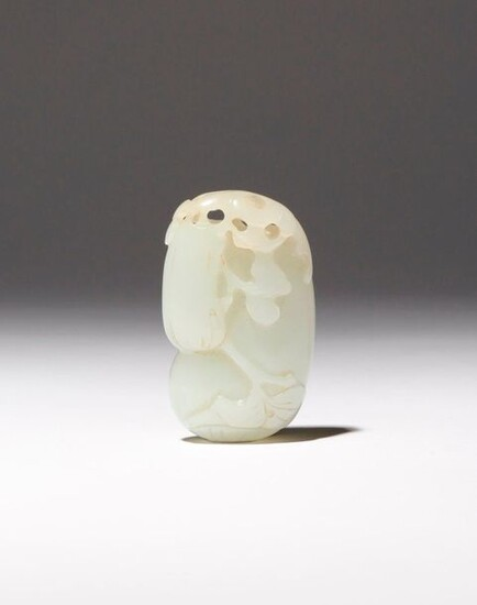 A CHINESE PALE CELADON JADE 'GOURDS' PENDANT 18TH CENTURY Carved...