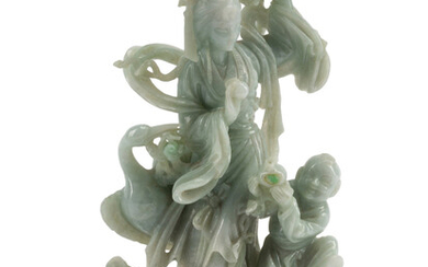 A Chinese Carved Hardstone Figural Group