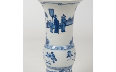 A Chinese blue and white gu shaped vase. Painted in undergla...