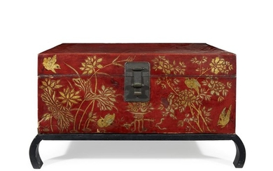 A Chinese gilt decorated red lacquered storage chest second...