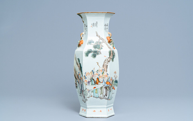 A Chinese hexagonal qianjiang cai vase with scholars in a landscape, 19/20th C.