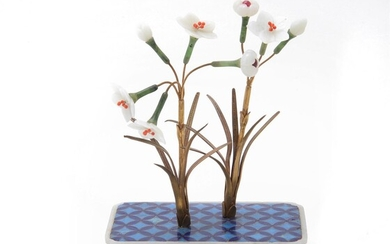 Y A Chinese jade-embellished 'Narcissus' potted plant