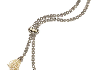 A DIAMOND AND cultured PEARL lavalier necklace