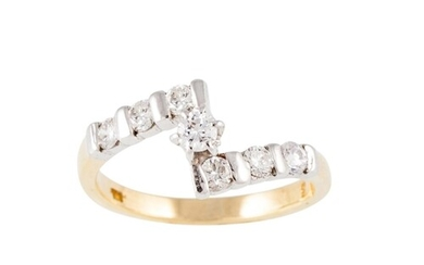 A DIAMOND DRESS RING, of twist design, mounted in 18ct gold....