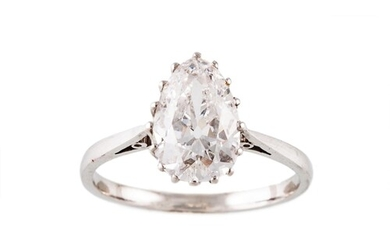 A DIAMOND SOLITAIRE RING, the old pear cut diamond mounted i...