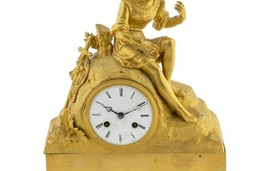 A French Empire Style Gilt Bronze Clock Height 15