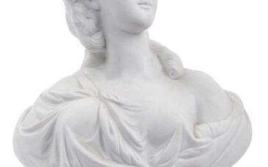 A French biscuit porcelain bust of Madame du Barry