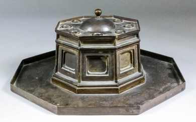 A George IV rosewood and brass inlaid rectangular inkstand...