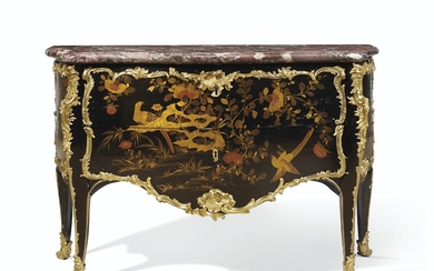 A LOUIS XV ORMOLU MOUNTED CHINESE LACQUER AND VERNIS MARTIN COMMODE, ATTRIBUTED TO JEAN DESFORGES, CIRCA 1745-49