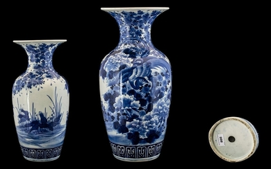 A Large Antique Chinese Blue and White Vase of ovoid form w...