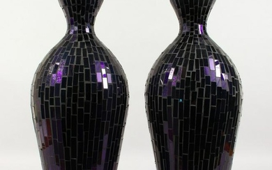 A PAIR OF STAINED GLASS STYLE PURPLE GLASS VASES. 1ft