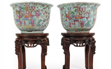 A Pair of Cantonese Porcelain Jardinieres, 19th century, typically painted...