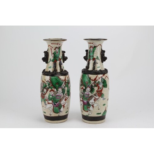 A Pair of Chinese Crackle Glazed Pottery Vases Decorated wit...