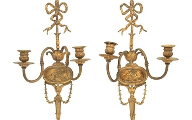 A Pair of Louis XVI Style Gilt Bronze Two-Light Sconces