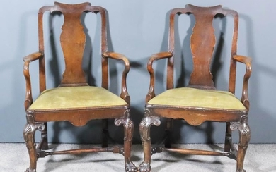 """A Pair of Walnut Armchairs of """"George II"""" Design,..."""