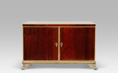 A REGENCY BRASS-MOUNTED BRAZILIAN ROSEWOOD AND EBONY COLLECTOR'S CABINET, EARLY 19TH CENTURY