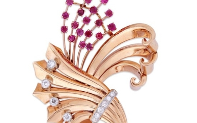 A Retro fourteen karat rose gold, diamond, and ruby...