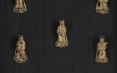 A SET OF CHINESE GILT SILVER 'IMMORTALS' FIGURES AND A