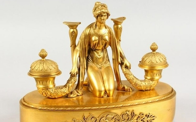 A SUPERB FRENCH EMPIRE ORMOLU OVAL INKSTAND, the top