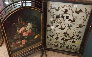 A VICTORIAN GLAZED FIRE SCREEN with hand painted decoration ...