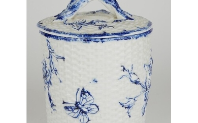 A VICTORIAN PORCELAIN BLUE AND WHITE JAR AND COVER Having em...