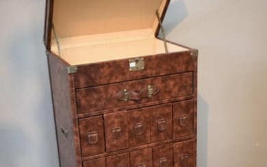 A VINTAGE STYLE SHIPPING TRUNK WITH FRONT DRAWERS (130H X 65W X 45D CM)