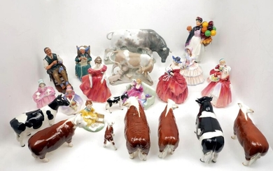 A collection of Beswick pottery cattle to...