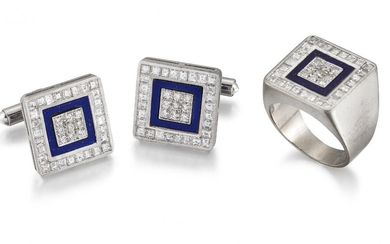 A diamond and lapis lazuli ring and pair of cufflinks,...