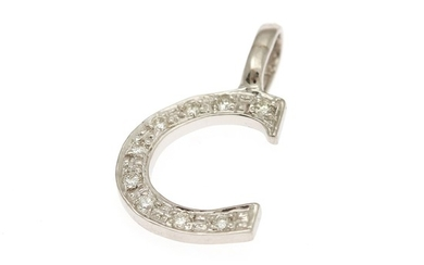 "A diamond pendant in shape of the letter ""C"" set with numerous brilliant-cut diamonds, mounted in 14k white gold. L. incl. eye-let app. 1.8 cm."
