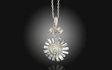 A diamond-set pendant, pave-set with round brilliant-cut diamonds within a...