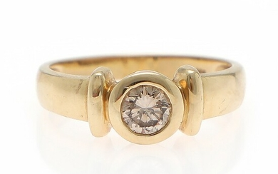 A diamond solitaire ring set with a brilliant-cut diamond weighing app. 0.35 ct., mounted in 14k gold. W. 7 mm. Size 55.