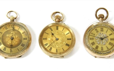 A gold key wound open-faced fob watch