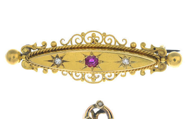 A late Victorian ruby and diamond brooch and an early 20th century gold split pearl stickpin.