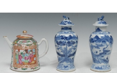 A pair of 19th century Chinese porcelain baluster vases and ...