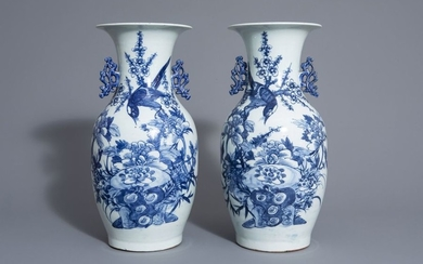 A pair of Chinese blue and white vases...
