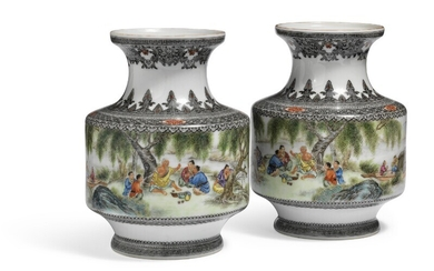 A pair of Chinese porcelain vases decorated in colours with a luncheon on the riverbank. Mark of Jian Gu. 1950. H. 16.5 cm. (2)