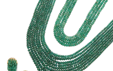 A pair of Emerald multi-strand bead Necklaces together with a matching pair of ear clips