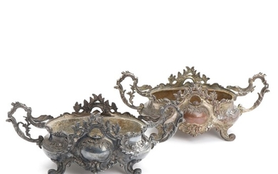 A pair of French partly silver-plated metal jardinières. Rococo style. 19th century. H. 14. L. incl. handles 35 cm. (2)