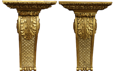 A pair of Neoclassical style giltwood wall brackets