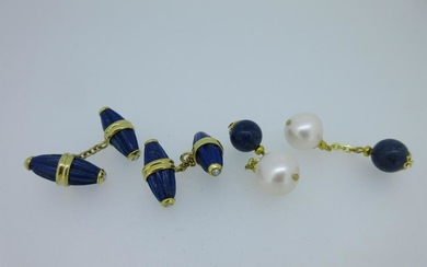 A pair of lapis lazuli and seed pearl cufflinks and a