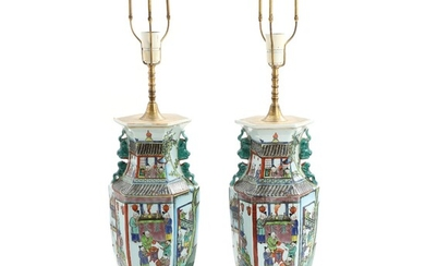 NOT SOLD. A pair of late 20th century Chinese porcelain table lamps, decorated with 100...