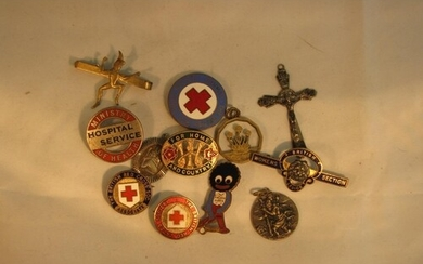 A selection of enamel & white metal badges incl, WW1, Red Cr...